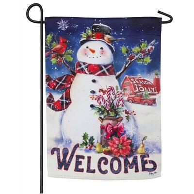 Christmas Barn Snowman Suede 2-Sided Polyester 1.5 x 1.04 ft. Garden Flag Evergreen Flag & Garden