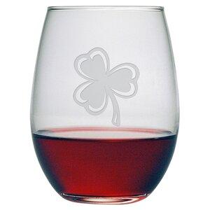 Classic Shamrock Stemless Wine Glass (Set of 4)