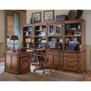 Hooker Furniture Brookhaven L-Shape 7 Piece Office Set with Hutch