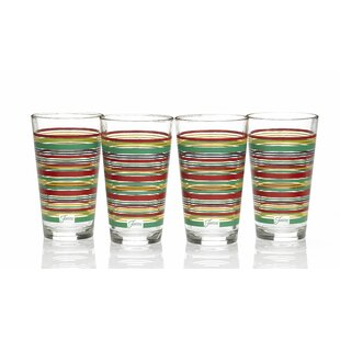 Stripes 16 Oz. Tapered Cooler Glass (Set of 4)
