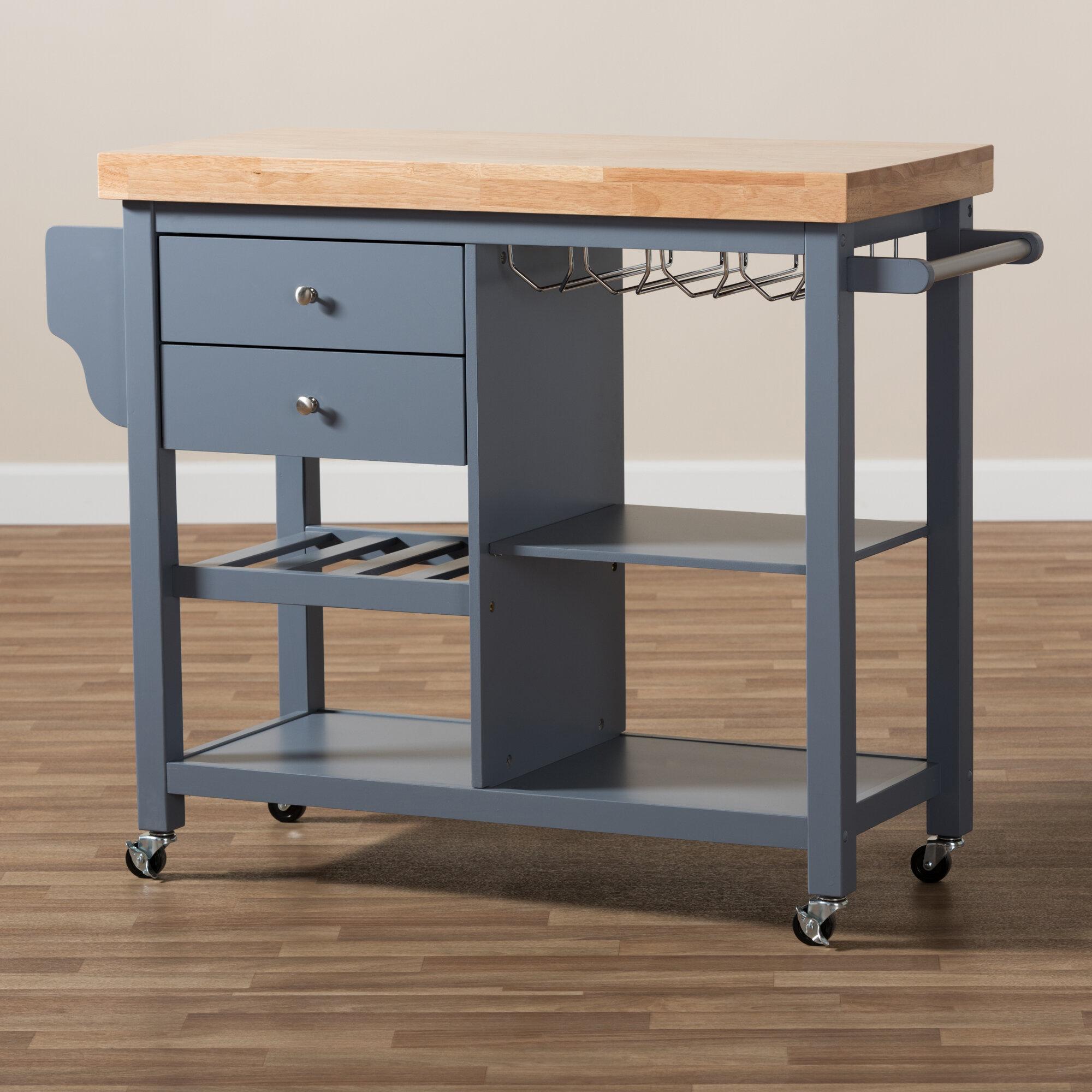 Good Charlton Home Hoglund Kitchen Cart With Wood Top   Wayfair