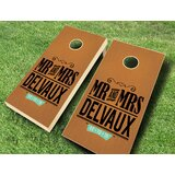 2' x 4' Mr. and Mrs. Wedding Stained Solid Wood Cornhole Board