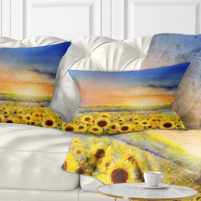 East Urban Home Floral Sunset Over Golden Sunflower Field Lumbar Pillow Wayfair