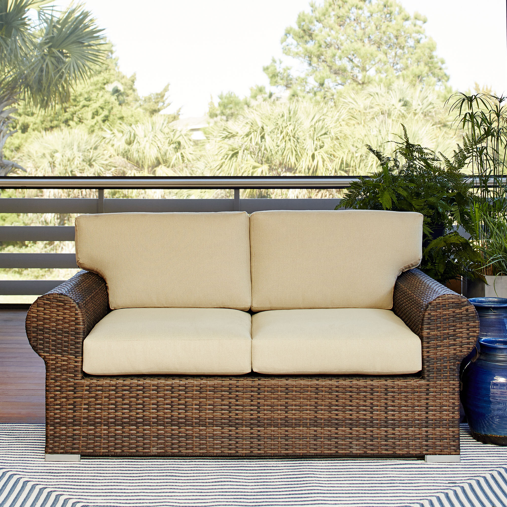 p with patio blue haven brown bay all loveseat wicker cushions sky hampton weather spring loveseats outdoor