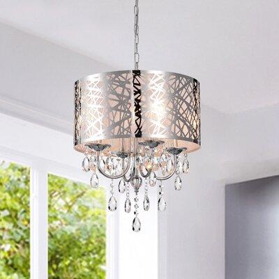 NEW 4Lights Drum Chandelier Modern Crystal Ceiling Light Fixture Pendant Lamp US