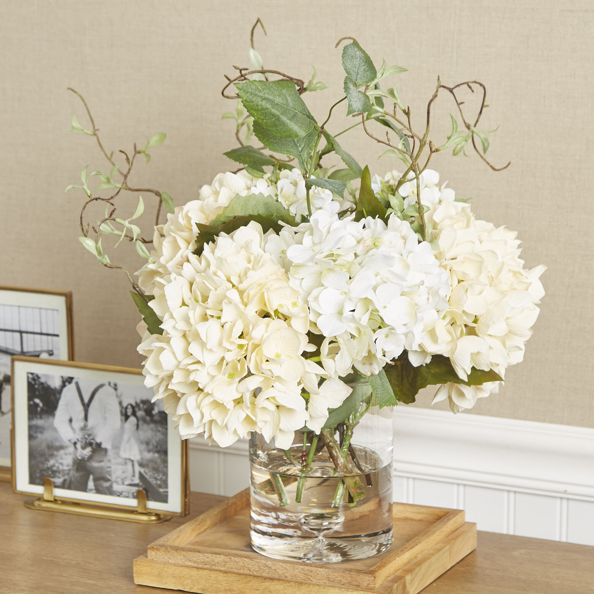 Faux hydrangea with vines in vase reviews birch lane reviewsmspy