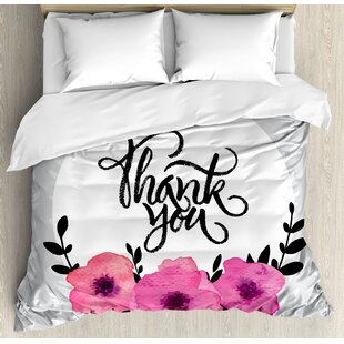East Urban Home Modern Rounded Thank You Quote Above Flowers Behind Leaf Ivy Background Duvet Set