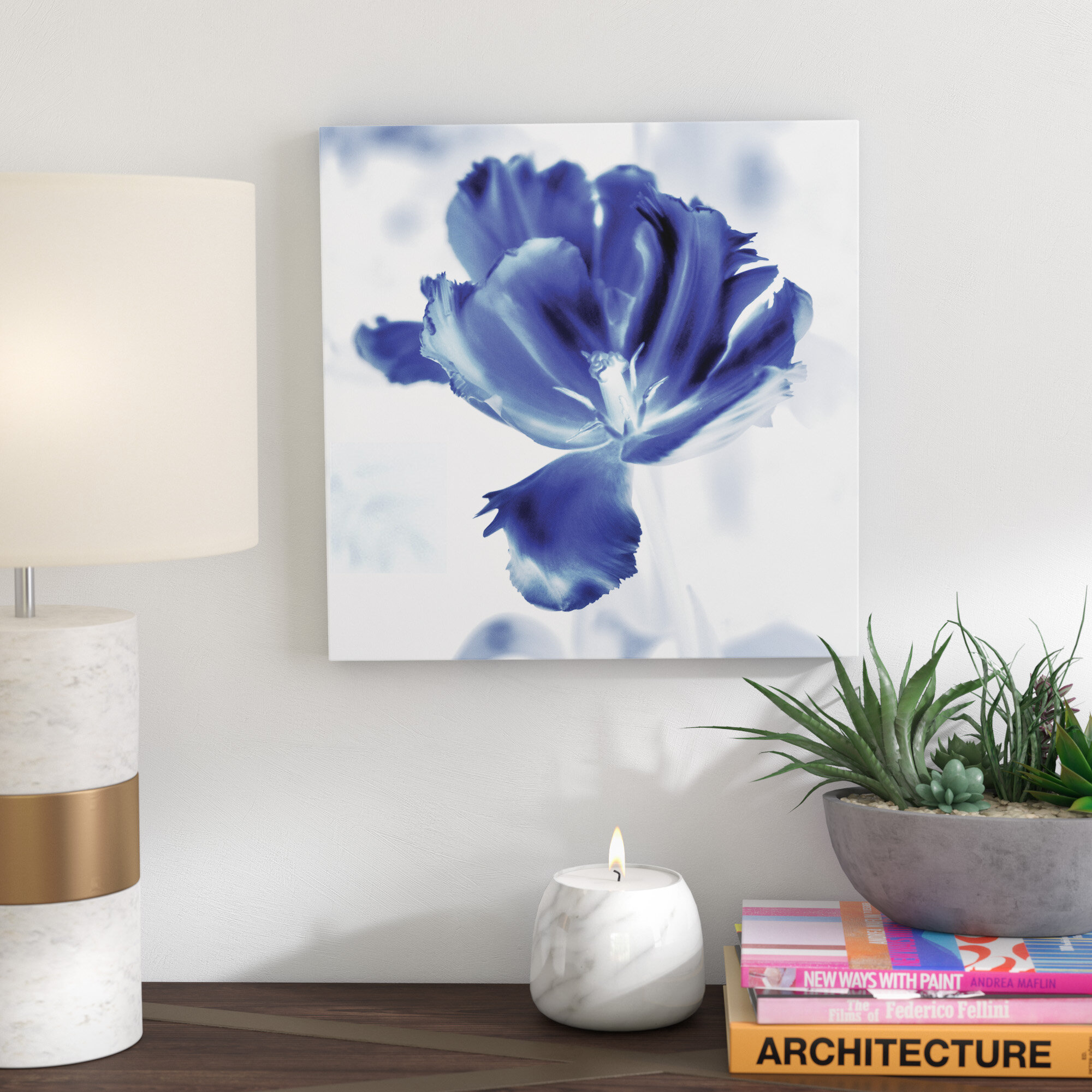 Bronx Blue Bedroom Project: Ivy Bronx 'Blue Ice Tulip' Graphic Art Print On Wrapped