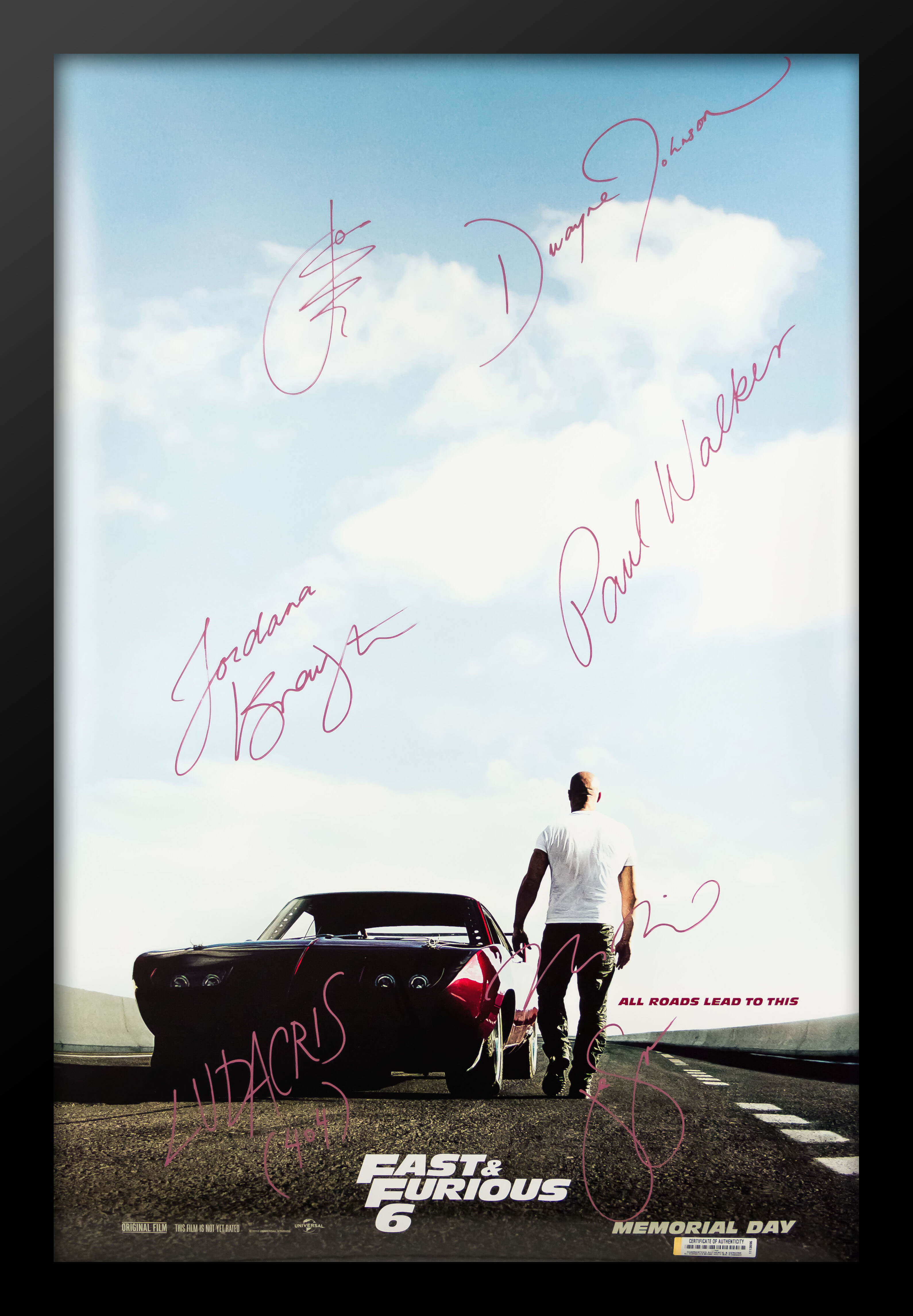 LuxeWest Fast and Furious Framed Autographed Movie Poster Framed ...