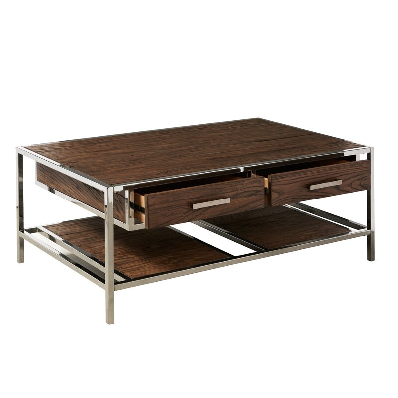 Superbe Falkner Modern Industrial Style Coffee Table With Storage