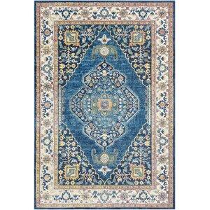 Tillamook Silk Floral Sky Blue/Bright Blue Area Rug