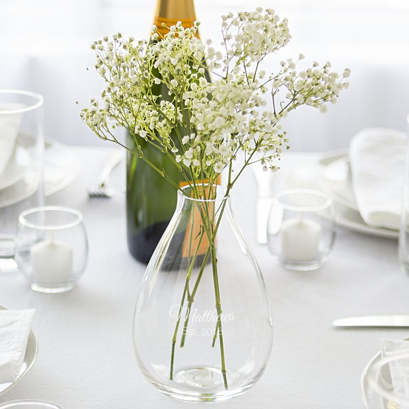 cathys concepts personalized glass table vase wayfair
