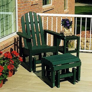 POLYWOOD® Glider Adirondack Chair and Ottoman Set
