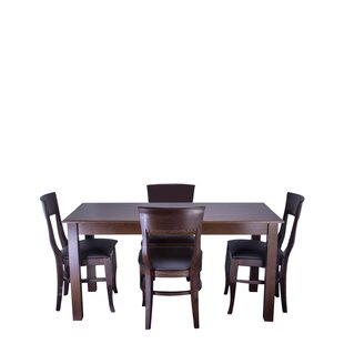 Tymon 5 Piece Solid Wood Dining Set