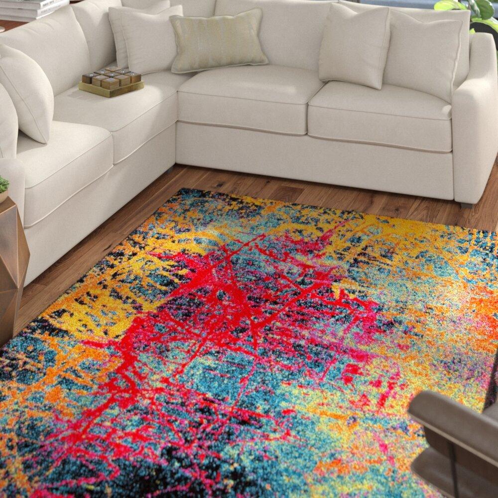 Ebern Designs Denita Abstract Multicolored Area Rug Reviews Wayfair