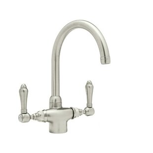Rohl Country Kitchen Two Handle Single Hole Kitchen Faucet with Metal Levers Side Spray