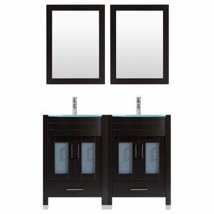 Peterman 72 Double Bathroom Vanity Set with Wood Frame Mirror by Orren Ellis