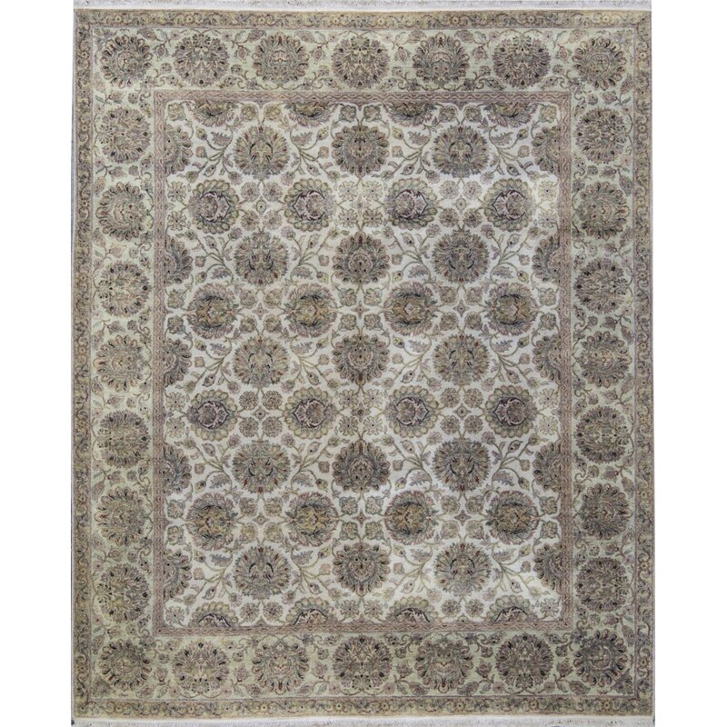 Bokara Rug Co Inc One Of A Kind Mountain King Hand Knotted Ivory Light Green 8 2 X 9 11 Wool Area Rug Perigold