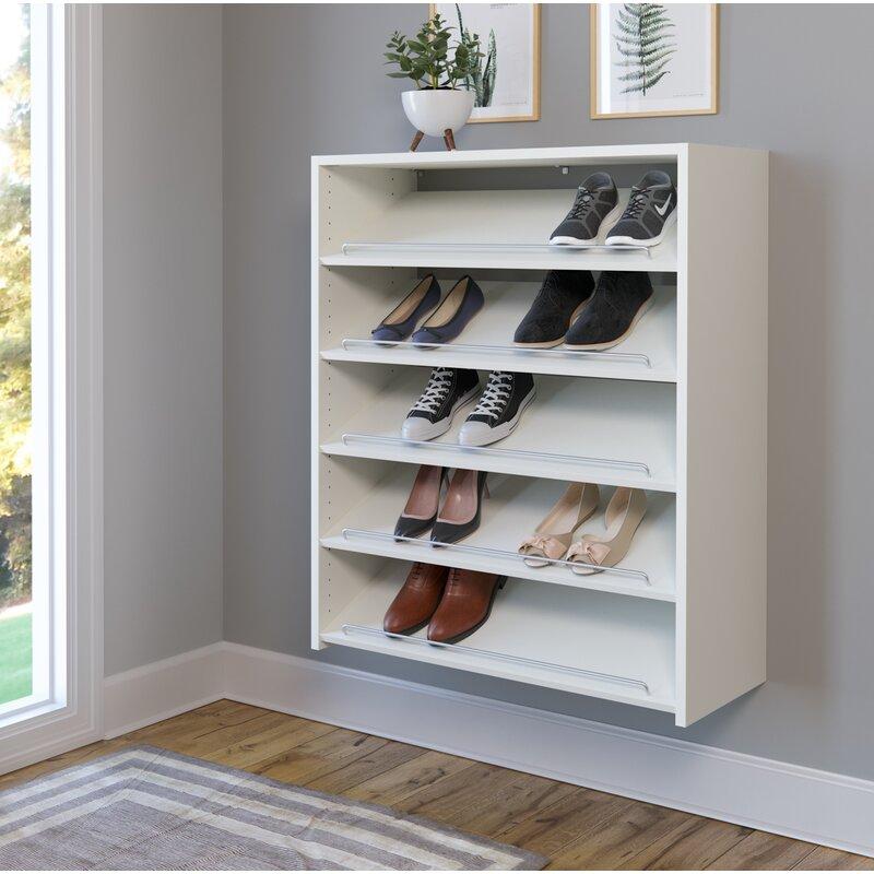 easy track wall mounted 15 pair shoe rack reviews wayfair. Black Bedroom Furniture Sets. Home Design Ideas