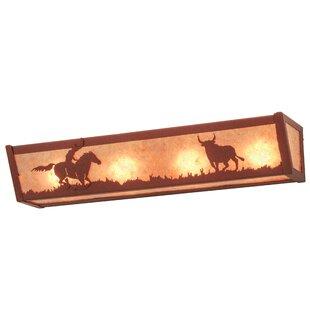 Meyda Tiffany Cowboy and Steer 4-Light Bath Bar