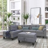 Alionna 104.7 Velvet Left Hand Facing Sofa & Chaise with Ottoman by Red Barrel Studio®