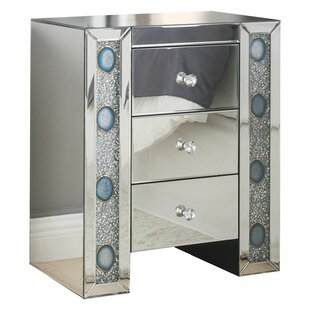 Inexpensive Kimana Mirrored 3 Drawer Nightstand by House of Hampton