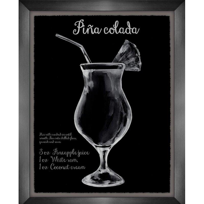 Latitude Run Cocktail Art Pina Colada Framed Graphic Art Print On Canvas Wayfair