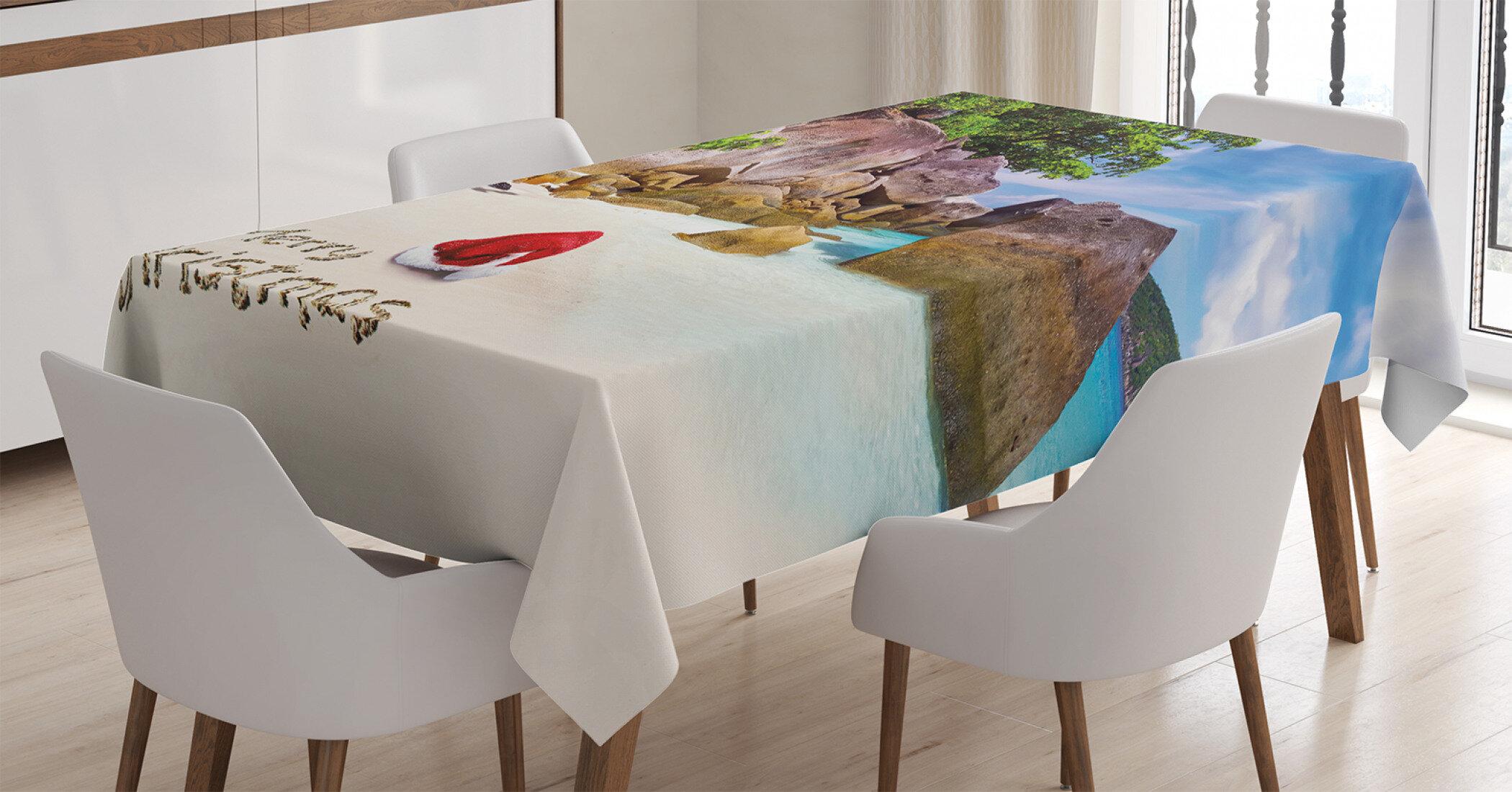 Island Christmas Theme.Ambesonne Christmas Tablecloth Tropical Exotic Island Beach With Big Rocks Idyllic Coastal Charm Theme Print Rectangular Table Cover For Dining Room