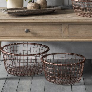 Metalwire baskets boxes wayfair grace metal 3 piece basket set greentooth Image collections