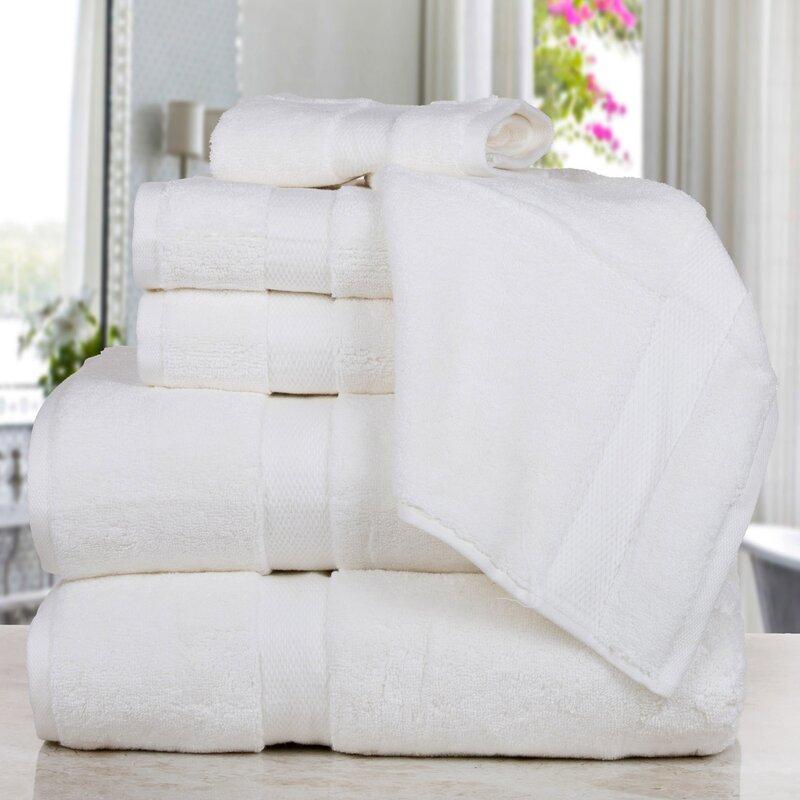 Affinity Linens Madhvi Premium Quality Luxury 6 Piece Cotton Towel Set  Color: White