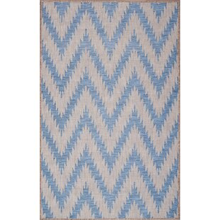 Annie Ivory/Blue Indoor/Outdoor Area Rug