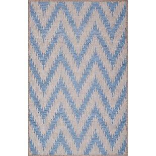 Annie Ivory/Blue Indoor/Outdoor Area Rug