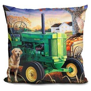John Deer Pups Throw Pillow