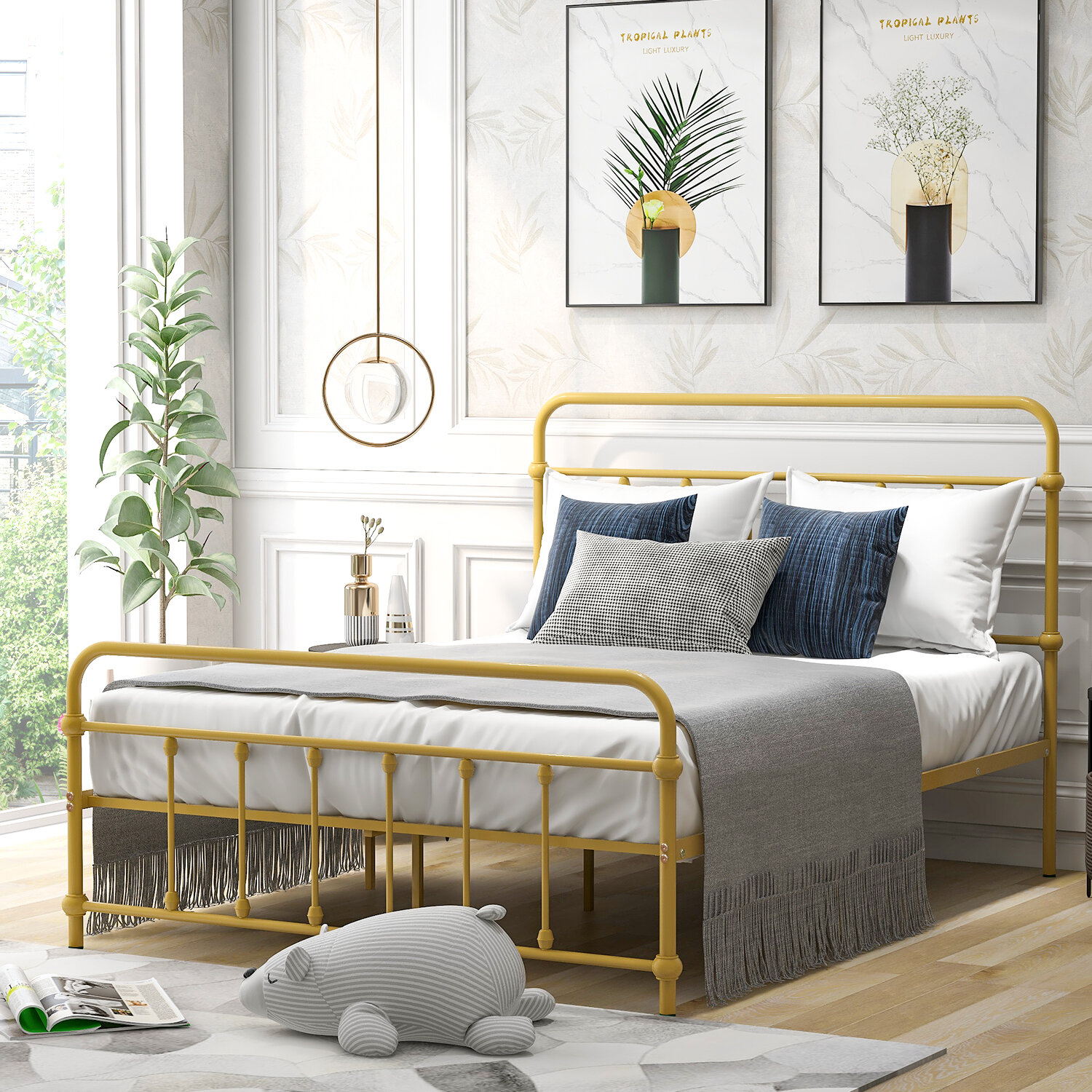 17 Stories Full Size Metal Platform Bed With Headboard And Footboard Iron Bed Frame For Bedroom No Box Spring Needed Yellow Wayfair Ca