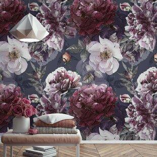 white peony blossom dark floral textile wallpaper