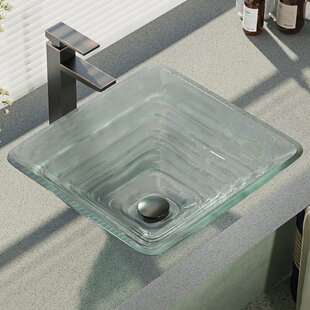 Textured Glass Square Vessel Bathroom Sink with Faucet By René Elkay