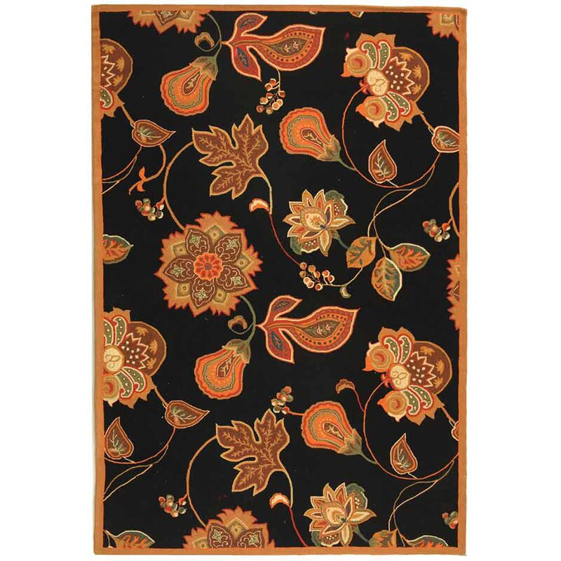 August Grove Kinchen Hand-Hooked Wool Black/Orange Area Rug, Size: Rectangle 6 x 9