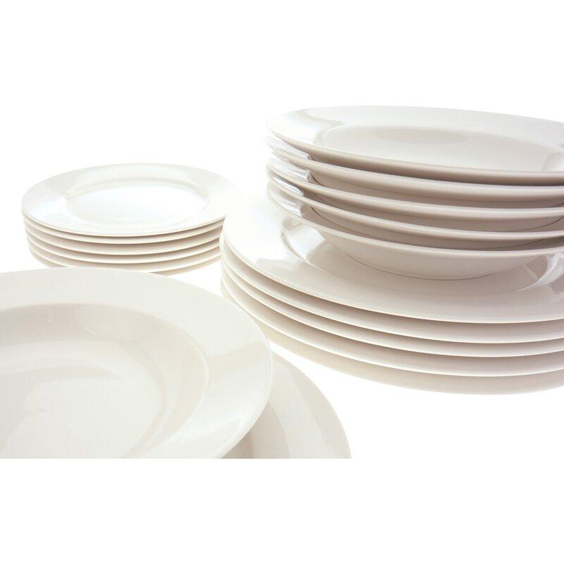 White Basics York 18 Piece Dinnerware Set Service for 6  sc 1 st  Wayfair & Maxwell \u0026 Williams White Basics York 18 Piece Dinnerware Set ...