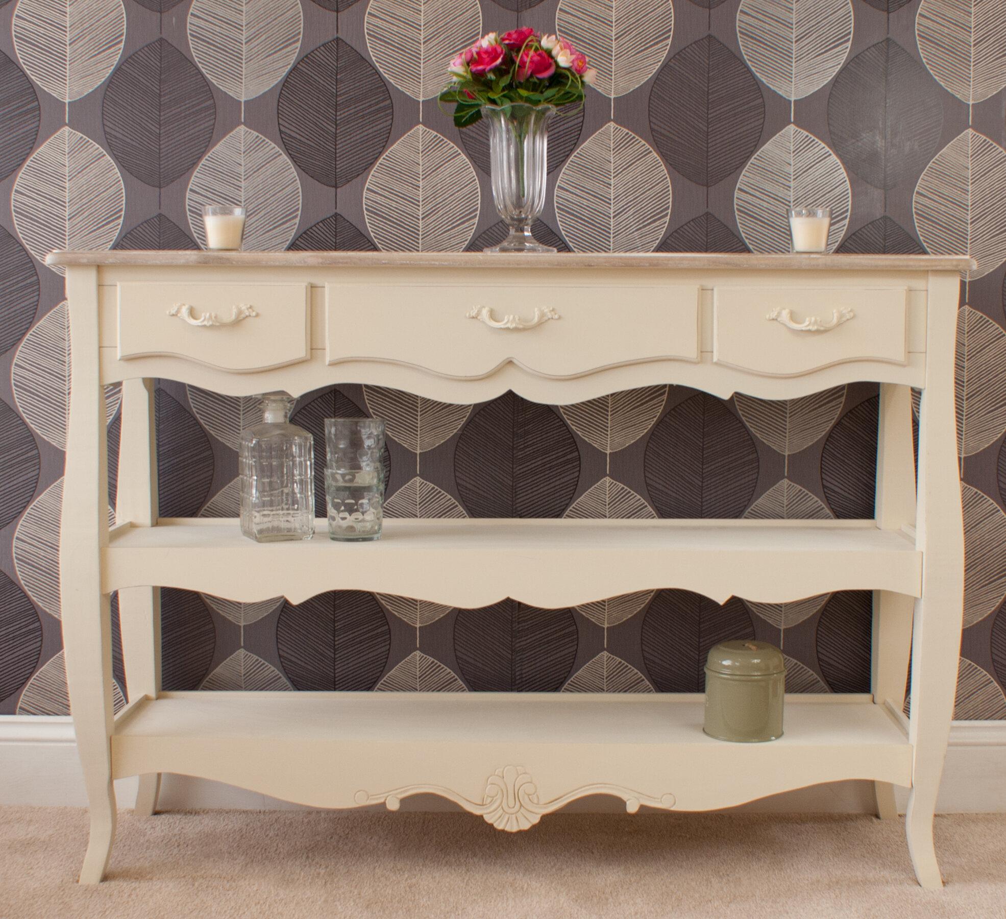 Fleur De Lis Living Albane 3 Drawer 2 Shelf Console Table Wayfair Co Uk