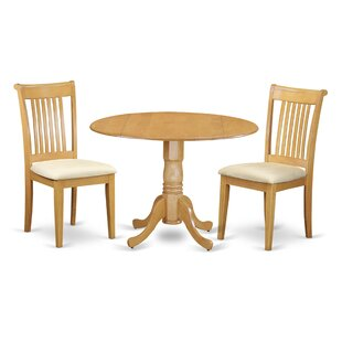 Spruill 3 Piece Drop Leaf Breakfast Nook Solid Wood Dining Set