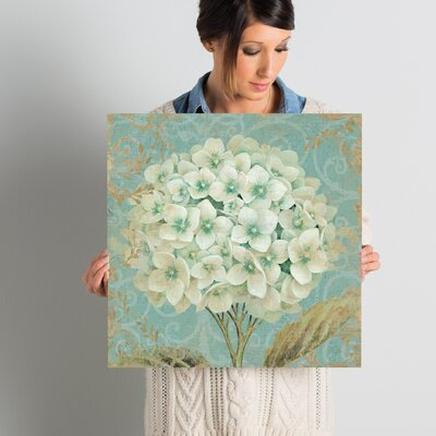 "Lark Manor 'Hydrangea Square II' Graphic Art on Wrapped Canvas Size: 18"" H x 18"" W x 0.75"" D"