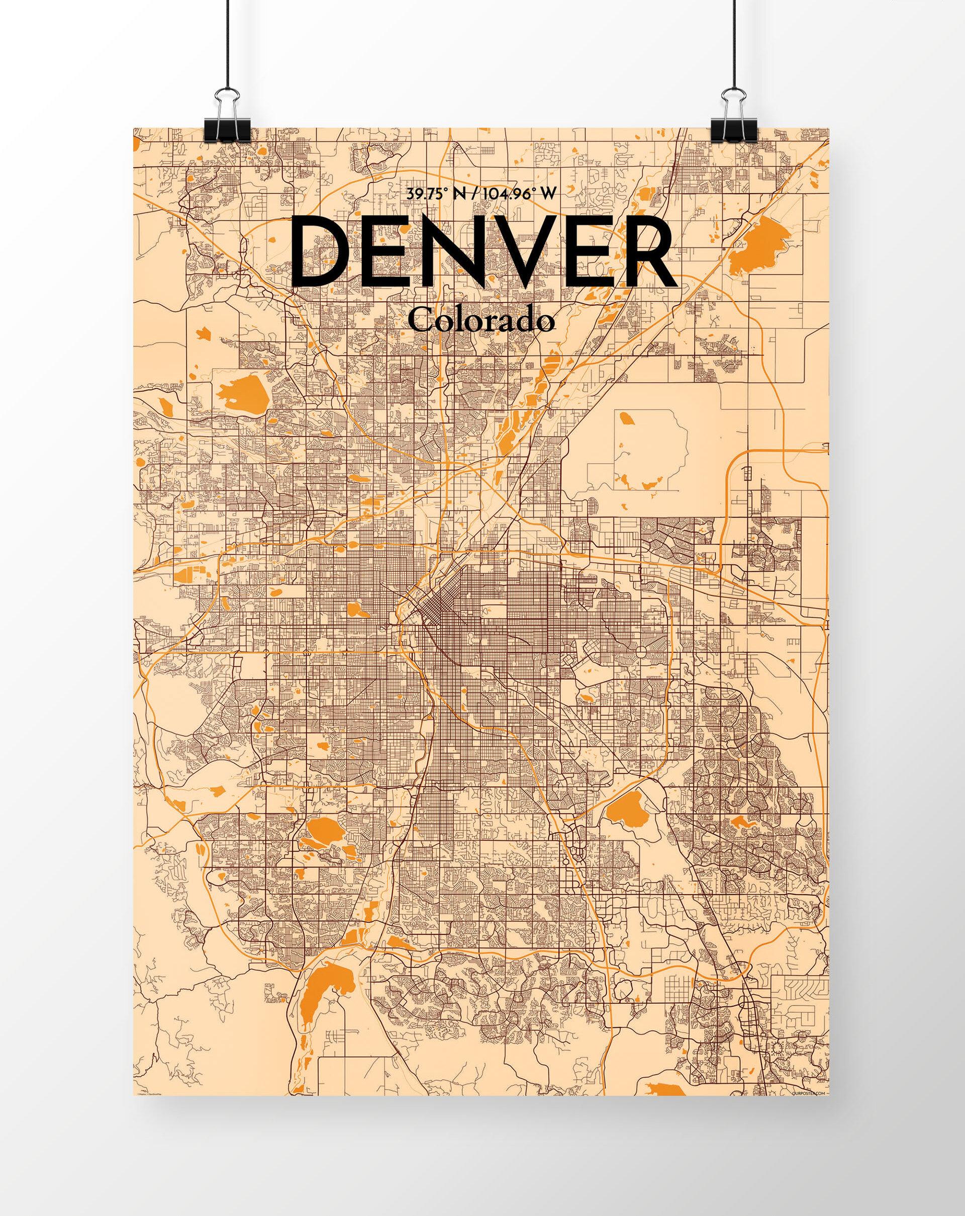 Wrought Studio \'Denver City Map\' Graphic Art Print Poster in Light ...
