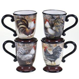 Kakarla Vintage Rooster 4 Piece Mug Set