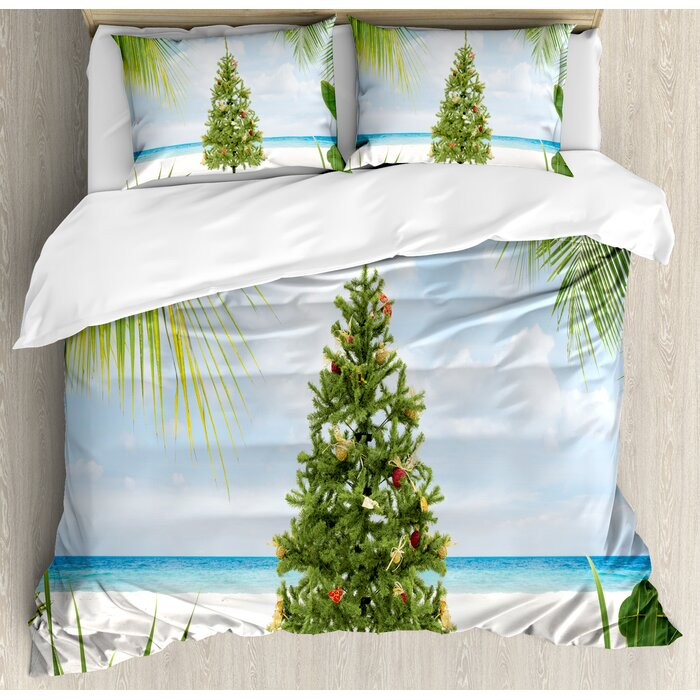 Island Christmas Tree.Christmas Tree With Tinsel And Ornaments Tropic Island Sandy Beach Party Duvet Cover Set