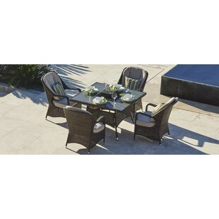 Canter 5 Piece Dining Set with Firepit and Cushion