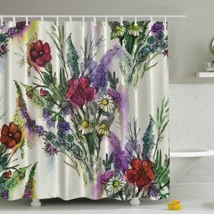 Bouquet of Watercolor Flowers Print Single Shower Curtain
