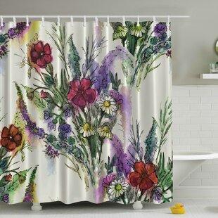 Bouquet of Watercolor Flowers Print Single Shower Curtain
