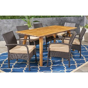Anneke 7 Piece Teak Dining Set with Cushions