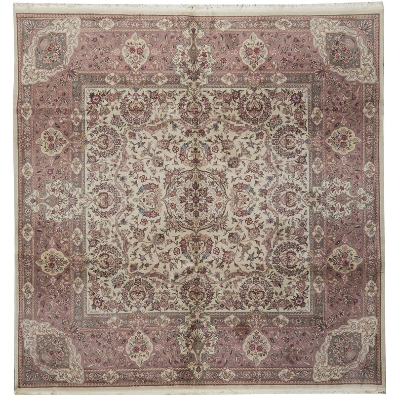Bokara Rug Co., Inc. One-of-a-Kind Prince Quality Hand-Knotted Square 8 Wool Pink/Beige Area Rug