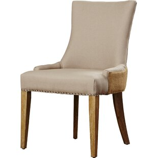 Brayden Studio Alpha Centauri Upholstered Side Chair in Linen - Two Toned Beige with Carpenter Nailheads